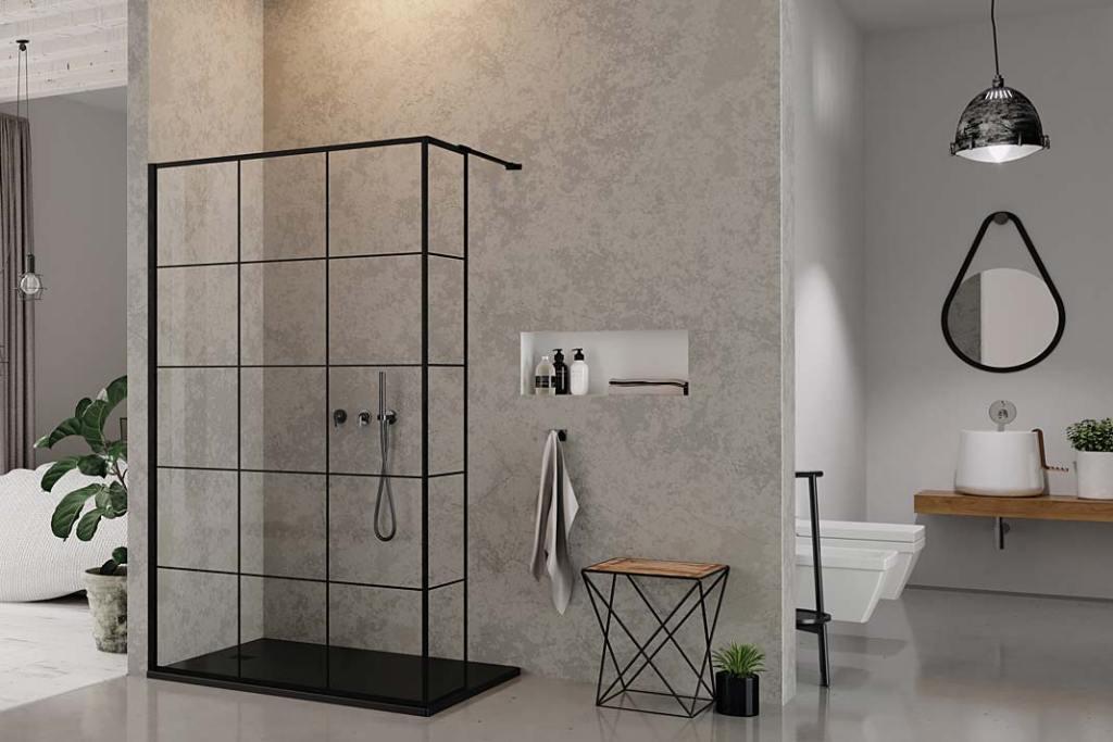 Łazienka z kabiną New Modus Black i brodzikiem Mori marki New Trendy