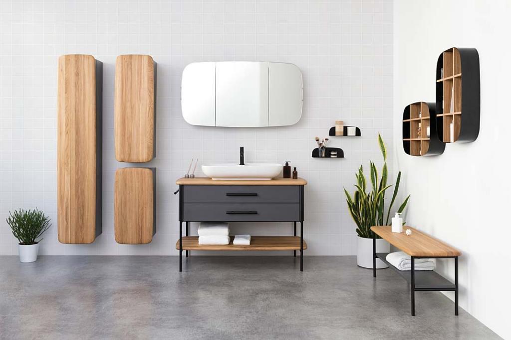 Wyposażenie łazienek z Polski. Meble łazienkowe Oval firmy Devo