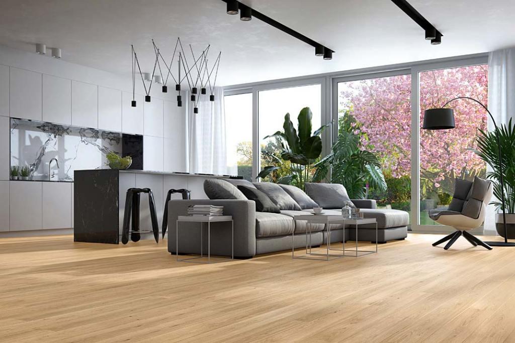 Podłoga drewniana Dąb Classic 1R z Baltic Wood. Kuchnia połączona z salonem