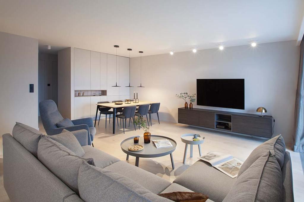 Nowoczesne mieszkanie w stylu skandynawskim: pokój dzienny z jadalnią. Projekt: Natalia Jargiełło