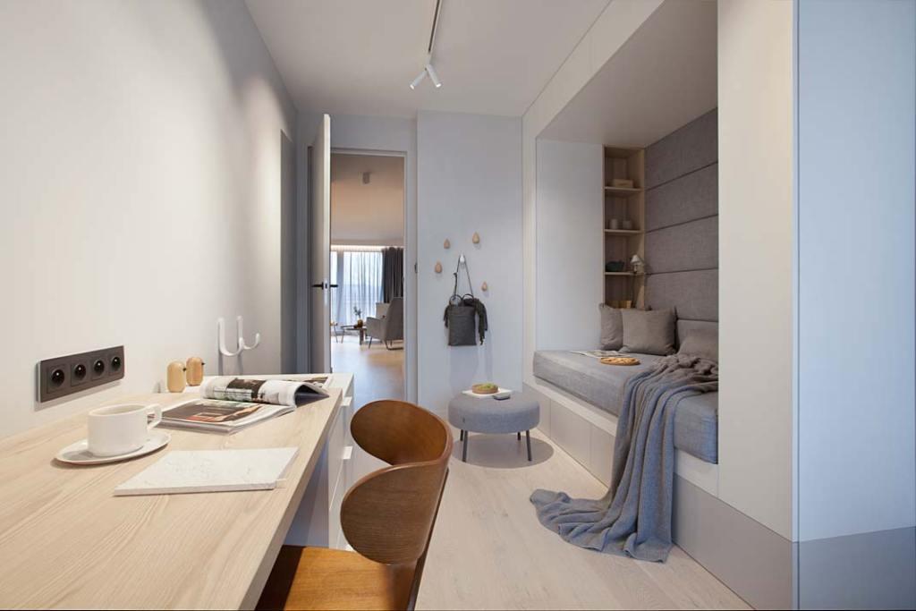 Pokój nastolatki z tapicerowanym siedziskiem. Projekt: Natalia Jargiełło