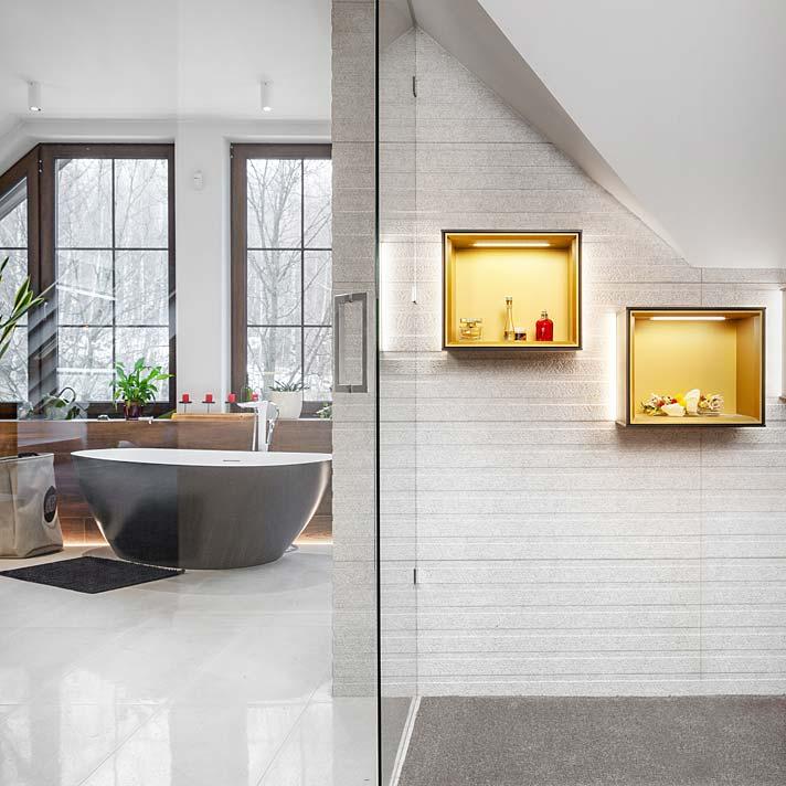 Salon kąpielowy na poddaszu. Projekt Marcelina Rzońca