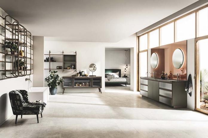 Salon kąpielowy wyposażony w produkty serii Diesel Open Workshop firmy Scavolini