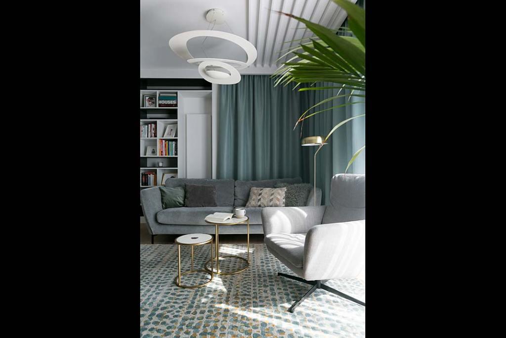 Nowoczesne mieszkanie dla rodziny. Salon, strefa wypoczynku. Projekt: MIKOŁAJSKAstudio