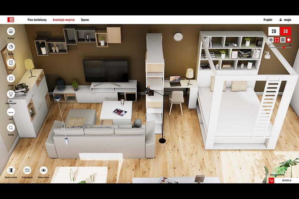 Salon wielofunkcyjny zaprojektowany przy pomocy VOXBOX - narzędzia projektowego marki Vox