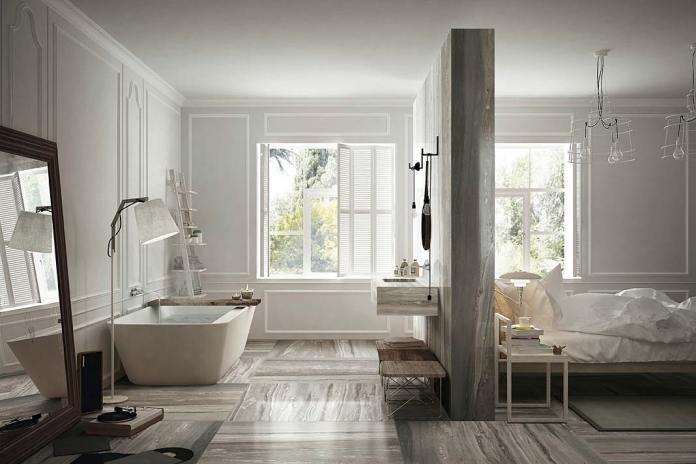 Sypialnia z łazienką, na podłodze płytki Etoile de Rex marki Rex Ceramiche