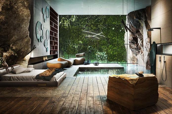 Sypialnia z łazienką wyposażoną w armaturę Equilibrio firmy Gessi