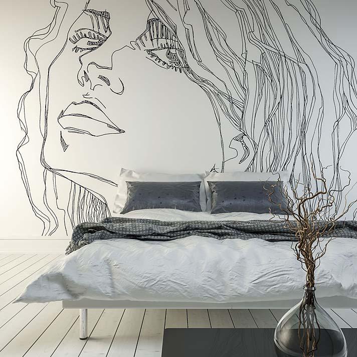 Modne pomysły na aranżację sypialni. Tapeta Ri-Tratto marki Tecnografica