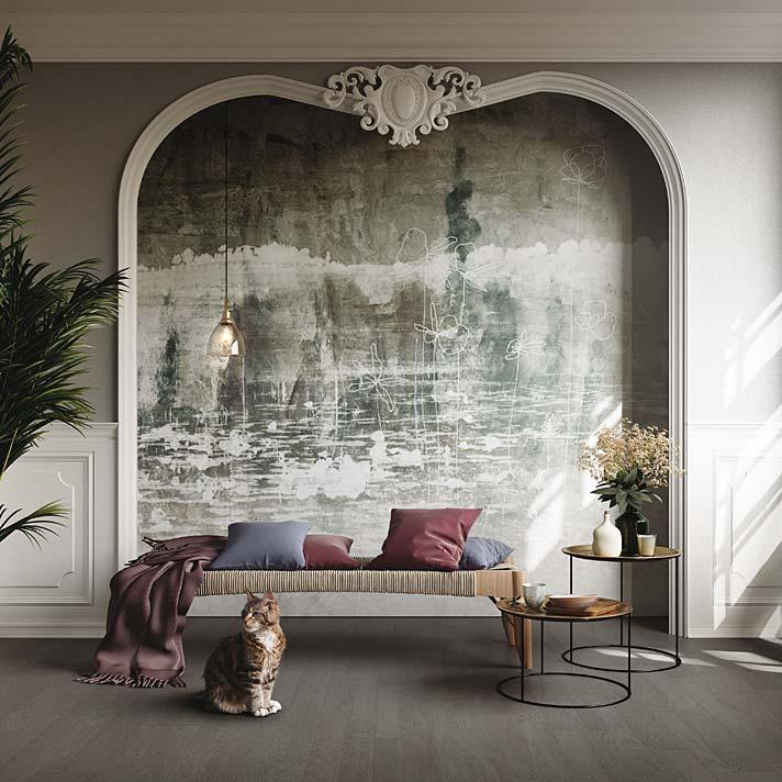 Salon w stylu vintage. Tapeta marki Tecnografica inspirowana stylem wabi-sabi