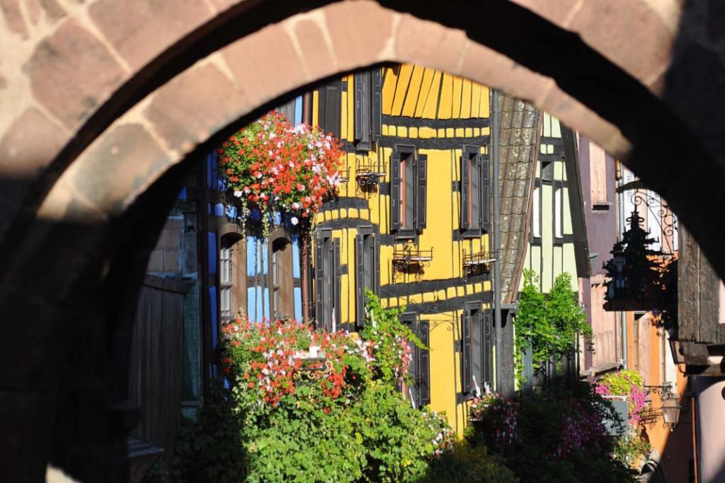 Miasta ogrody Alzacji. Ukwiecona ulica Riquewihr