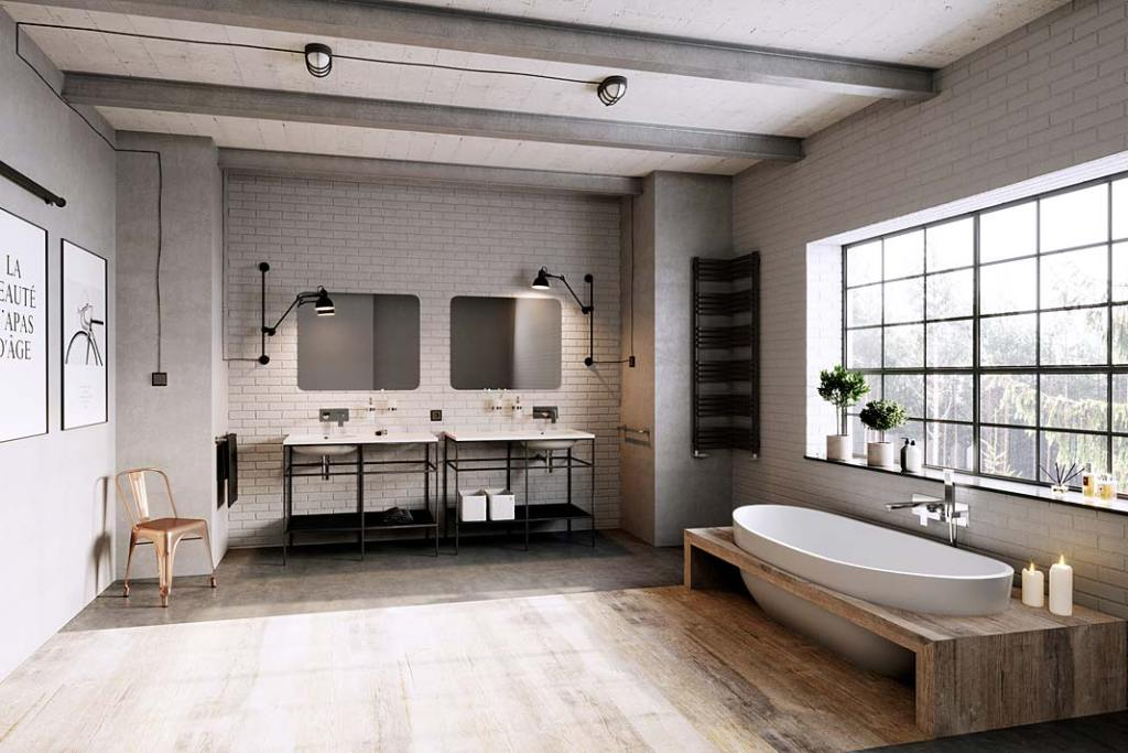 Aranżacja łazienki w stylu loft, baterie umywalkowe i wannowe Algeo Aquare od Ferro