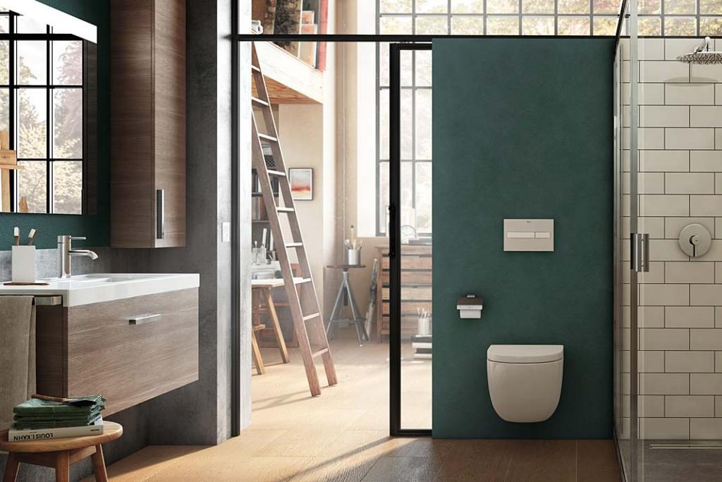 Aranżacja łazienki w stylu loftowym z przesuwnymi drzwiami, ceramika marki Roca
