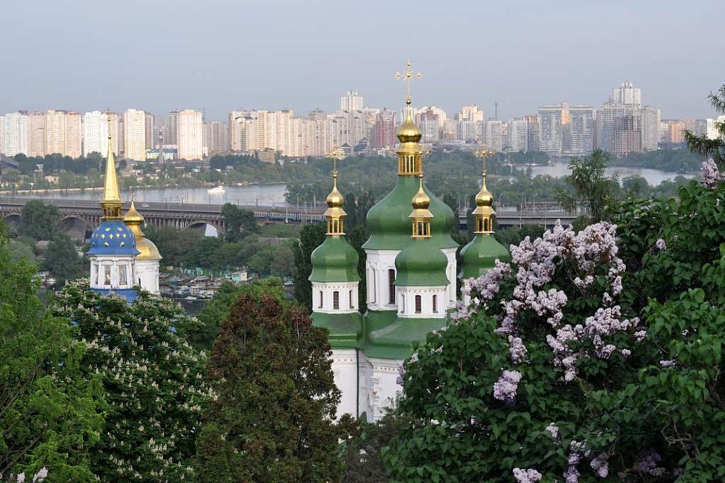 Ogrody i parki Kijowa. Bzy w ogrodzie botanicznym w Kijowie