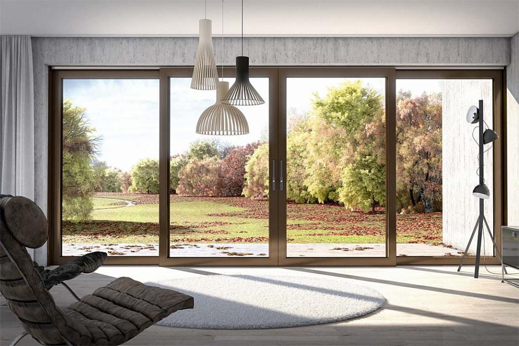 Duże okna w domu. Drzwi podnoszono-przesuwne z PVC-U Schüco LivIngSlide