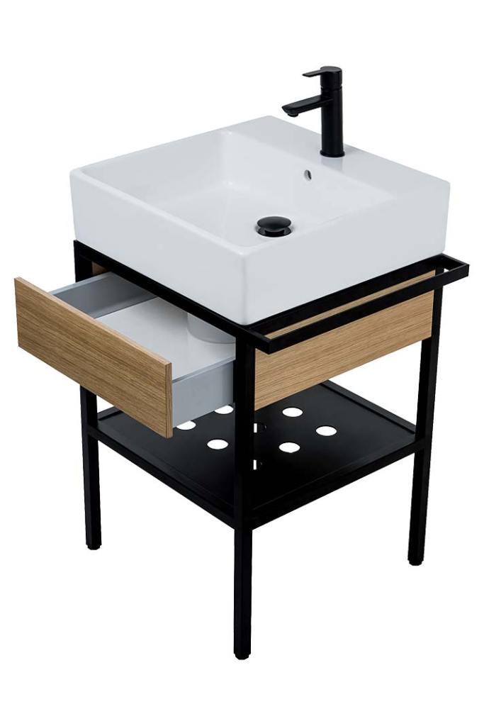 Loftowa łazienka, umywalka Temisto z czarną konsolą marki Deante