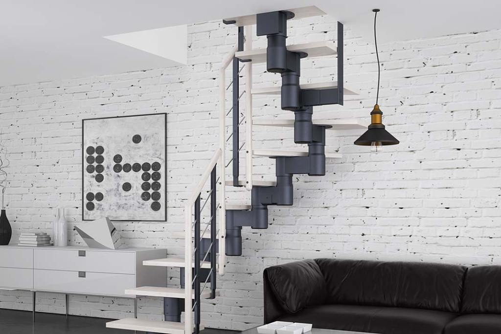 Loftowe schody Knock marki Rintal, spiralne z metalową ramą