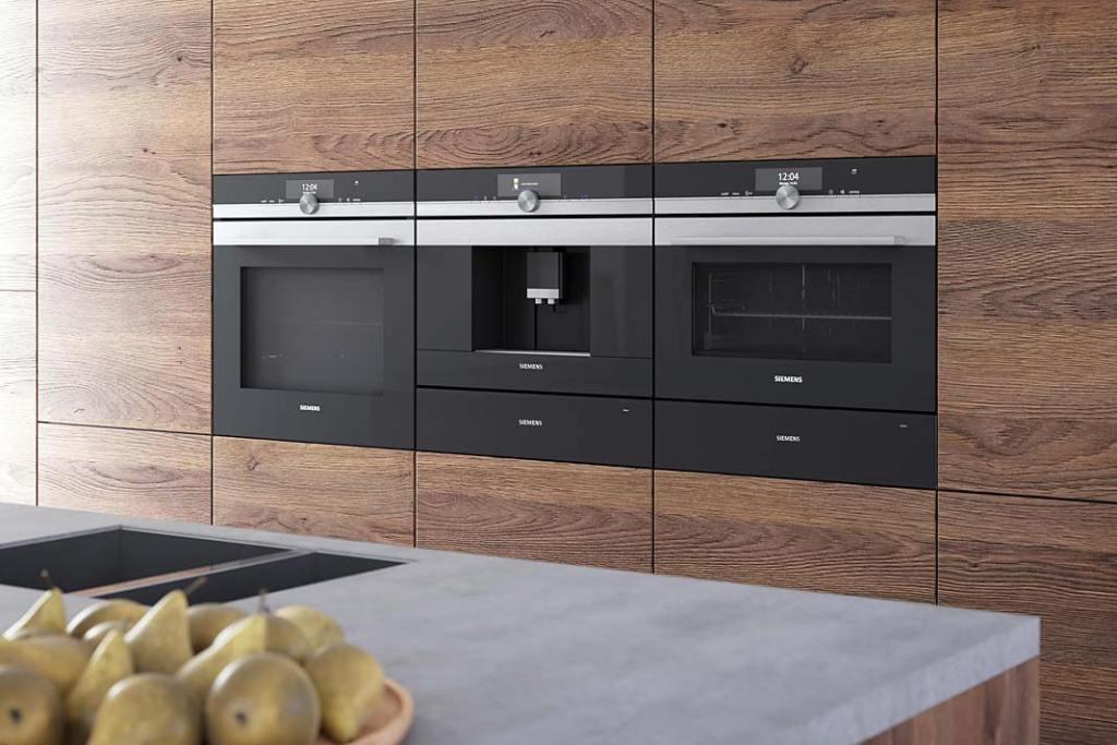 Meble kuchenne z wkomponowanym sprzętem AGD do zabudowy marki Siemens
