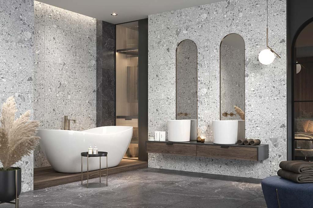 Płytki do łazienki z wzorem lastryko, kolekcja Monti Ceramica Limone dostępna w salonach PGC