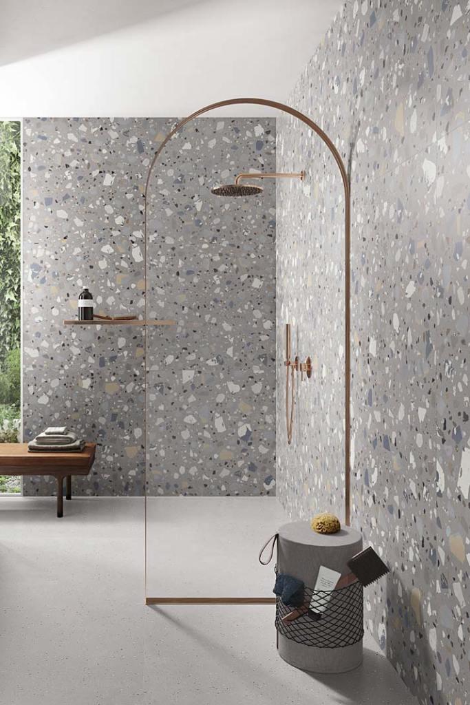 Porcelanowe płytki do łazienki z wzorem lastryko, kolekcja Deconcrete De-Maxi DecoGrey marki Ceramica Sant'Agostino