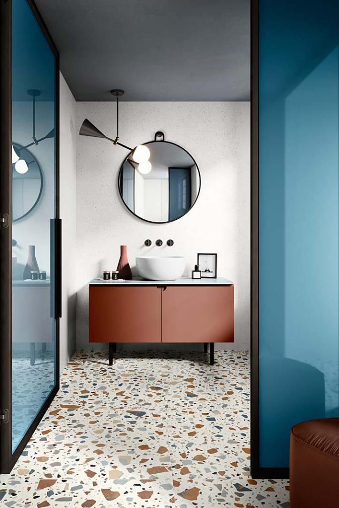 Porcelanowe płytki do łazienki z wzorem lastryko, kolekcja Deconcrete marki Ceramica Sant'Agostino