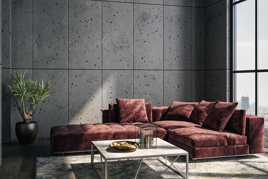 Industrialne wnętrze, beton na ścianie. Na podłodze panele RuckZuck