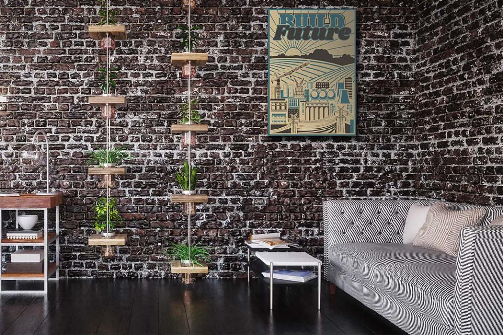 Industrialne wnętrze, cegła na ścianie. Na podłodze panele RuckZuck