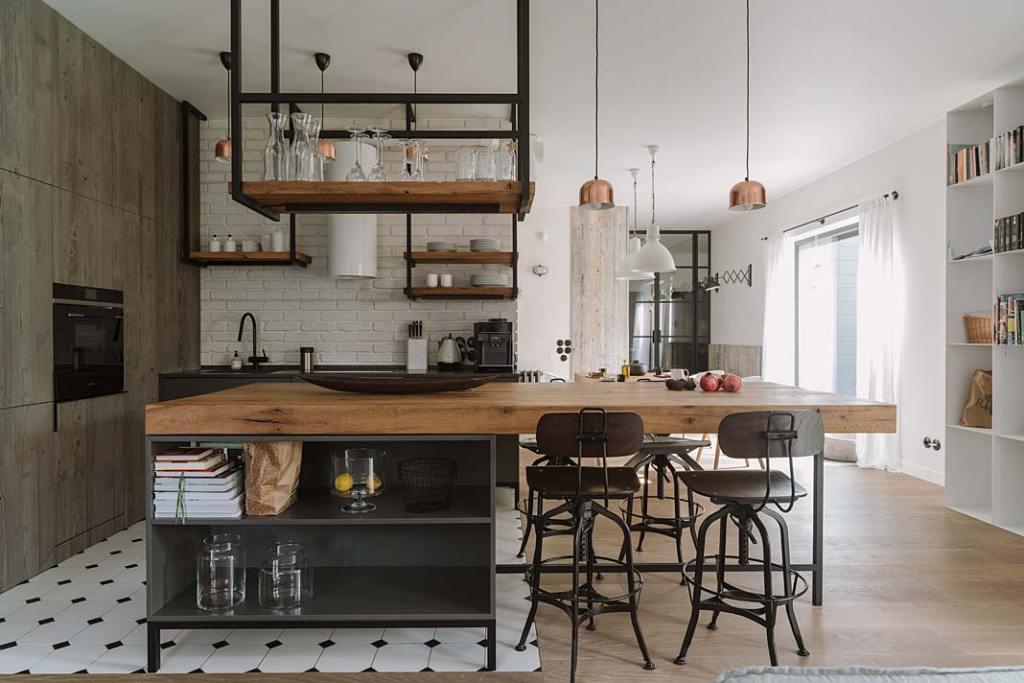 Styl loftowy w kuchni, realizacja pracowni Studio.O.