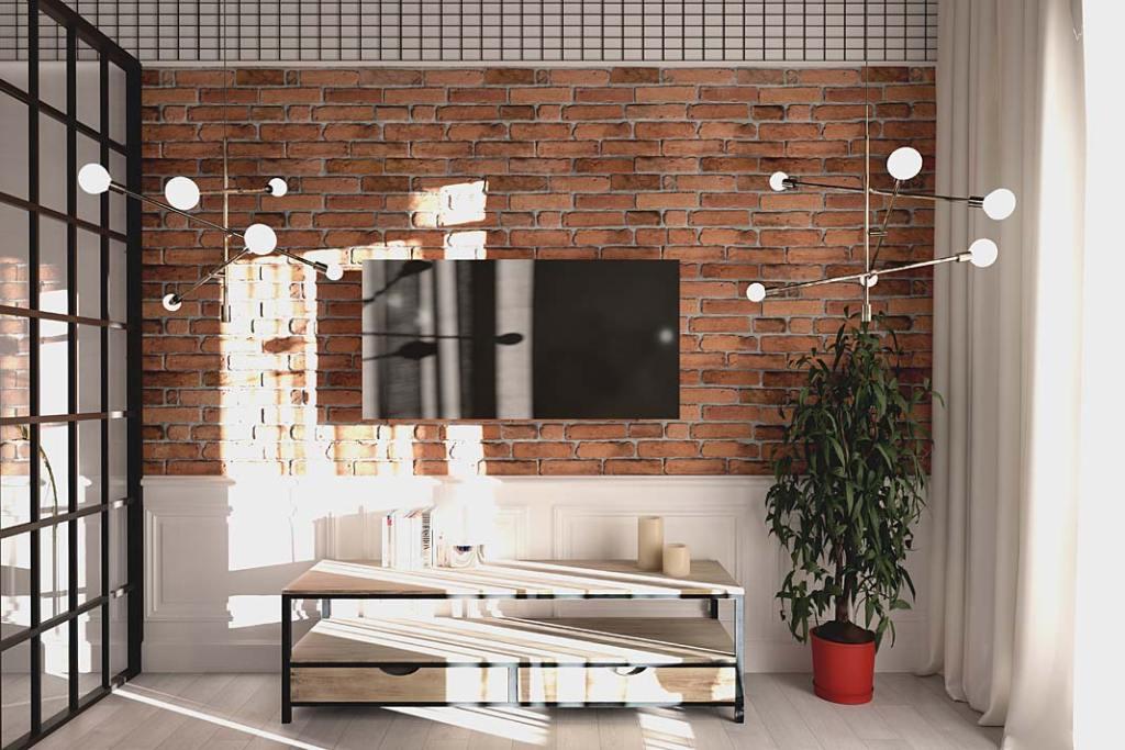 Styl loftowy w salonie, na ścianie płytki Stara Cegła od Elkamino Dom