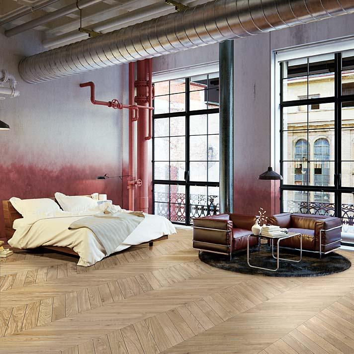 Styl loftowy w sypialni, aranżacja z deską podłogową Steppe marki Lareco