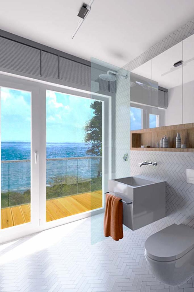 Wizualizacja łazienki. Apartament w miejscowości Gąski, oferta Propeo – Unique Properties