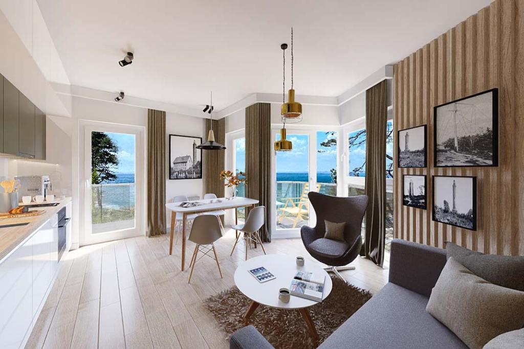 Wizualizacja salonu. Apartament w miejscowości Gąski, oferta Propeo – Unique Properties