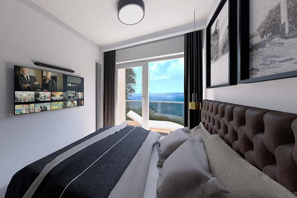 Wizualizacja sypialni. Apartament w miejscowości Gąski, oferta Propeo – Unique Properties