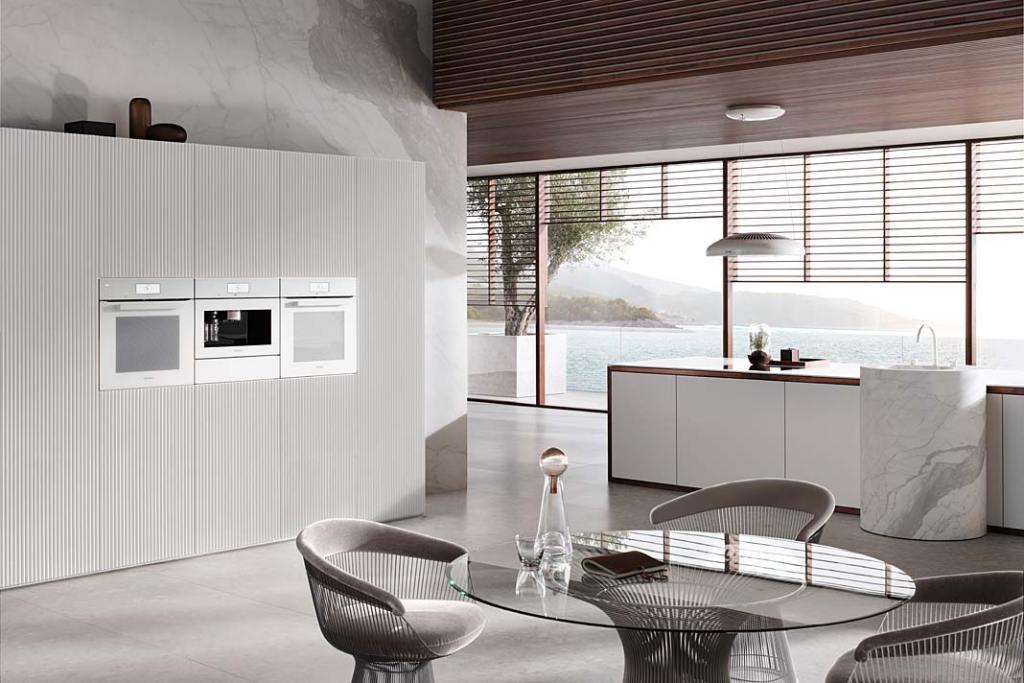 Wyposażenie kuchni z salonem, okap kuchenny DA 7078 D Aura 3.0 White Loom Miele