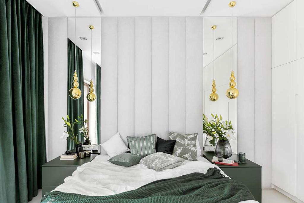 Zasłony butelkowa zieleń w sypialni. Projekt Magdalena Bigos-Smoszna, Idea by Mag