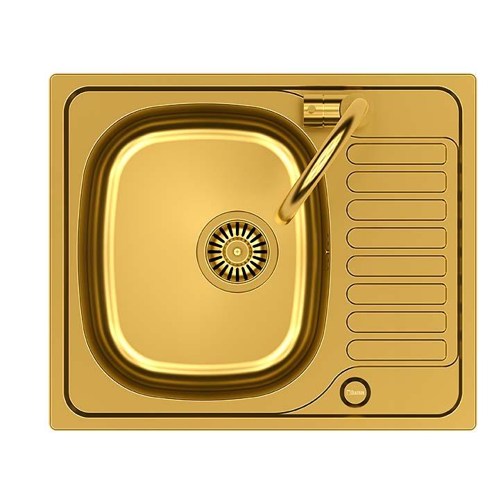 Złote dodatki w kuchni. Zlewozmywak i bateria kuchenna - komplet Calvo Quadron zLeroy Merlin