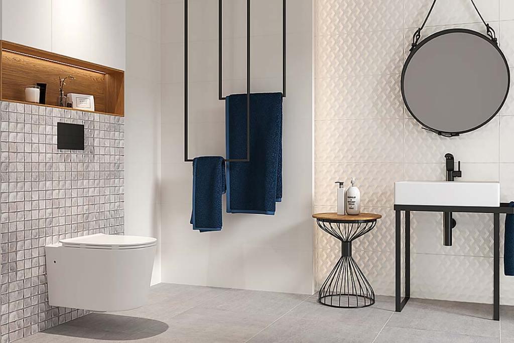 Stelaż podtynkowy do WC. Aranżacja łazienki z płytkami Harmony Ceramiki Paradyż
