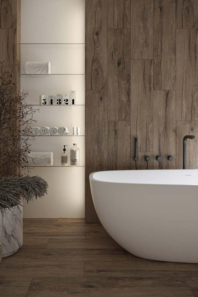 Aranżacja pokoju kąpielowego, na podłodze i ścianach drewnopodobny gres Passion Oak Opoczno