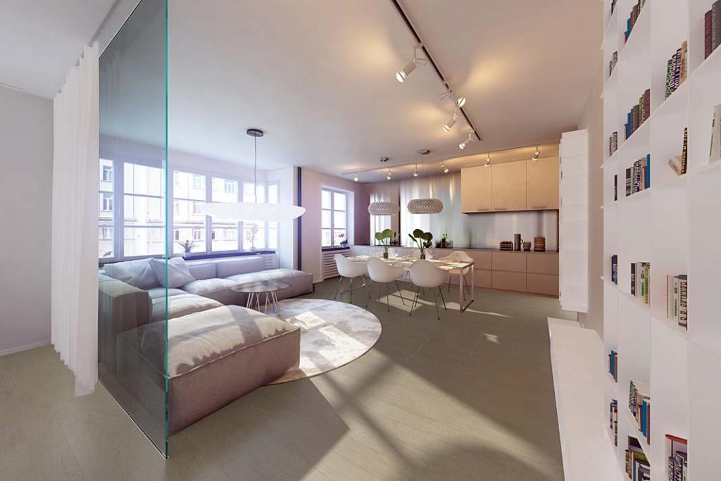 Aranżacja salonu, na podłodze panele Impression-4V Dąb Bilbao od RuckZuck