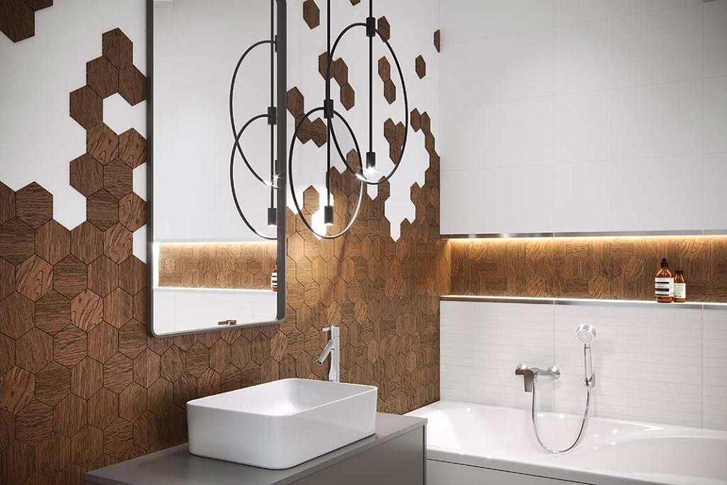 Gresowe płytki imitujące drewno, Finwood Ochra Mosaic Hexagon marki Cersanit