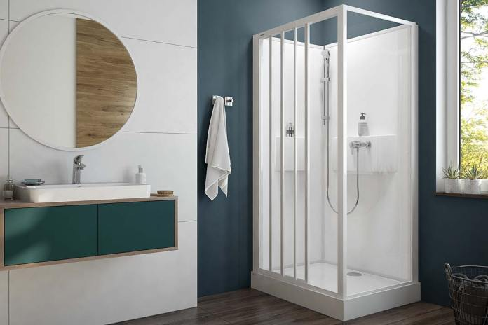 Kabina Basic Complete Sanplast ze zintegrowanymi półkami pod prysznic