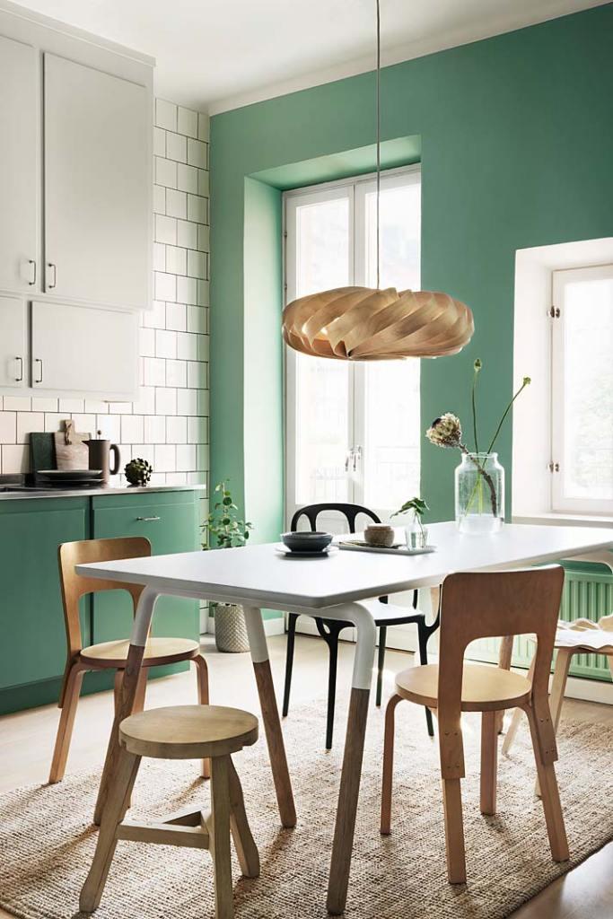 Wiosna w kuchni, ściany pomalowano farbą Alcro Pashmina w kolorze 722