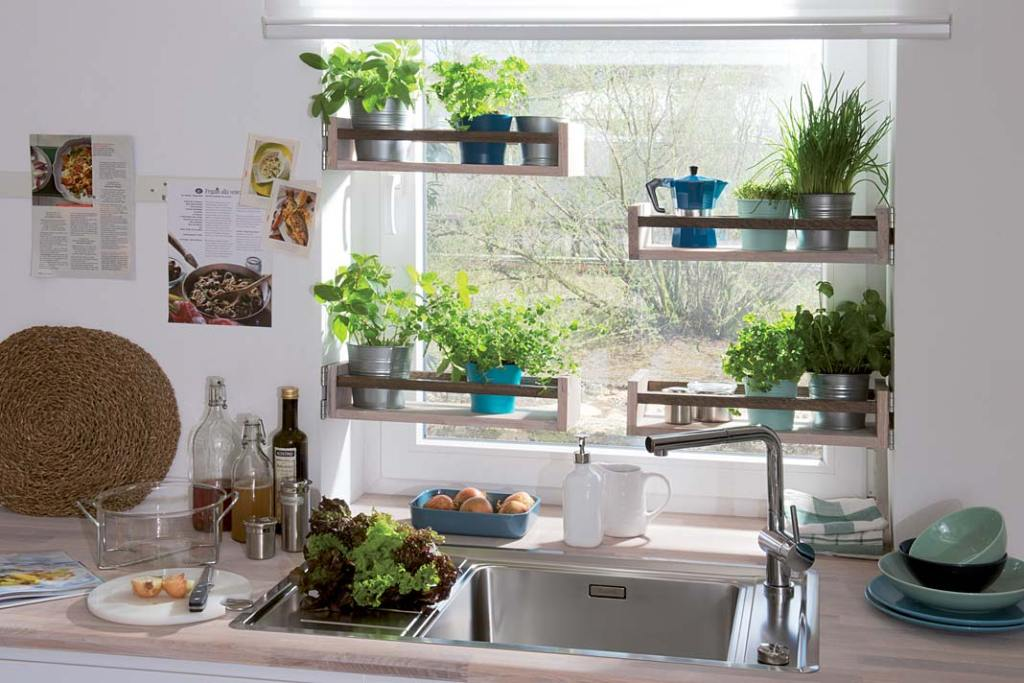 Pomysł na kuchnię - ziołowy ogródek w oknie. Zlewozmywak Andano z oferty Comitor