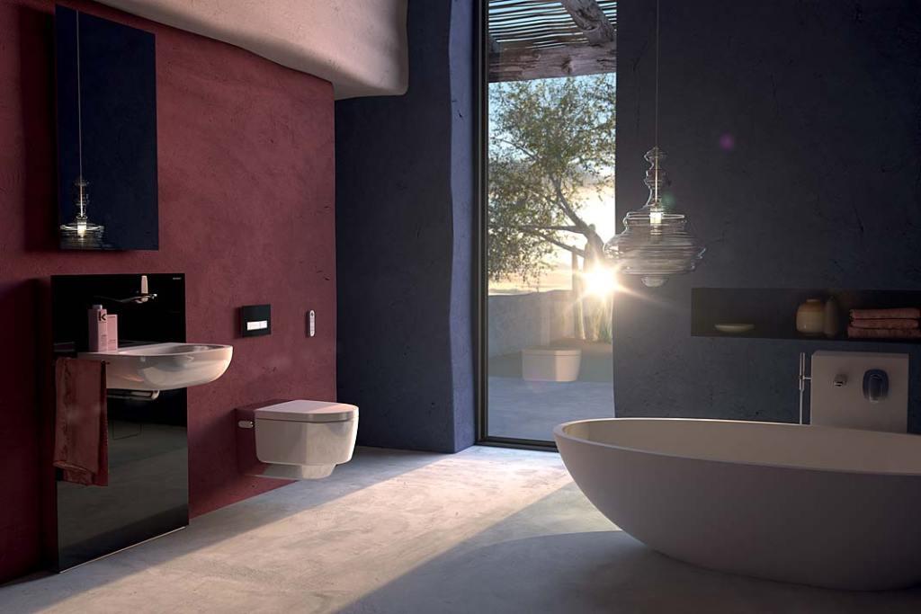 Łazienka z toaletą myjącą Geberit AquaClean Mera ze światłem orientacyjnym