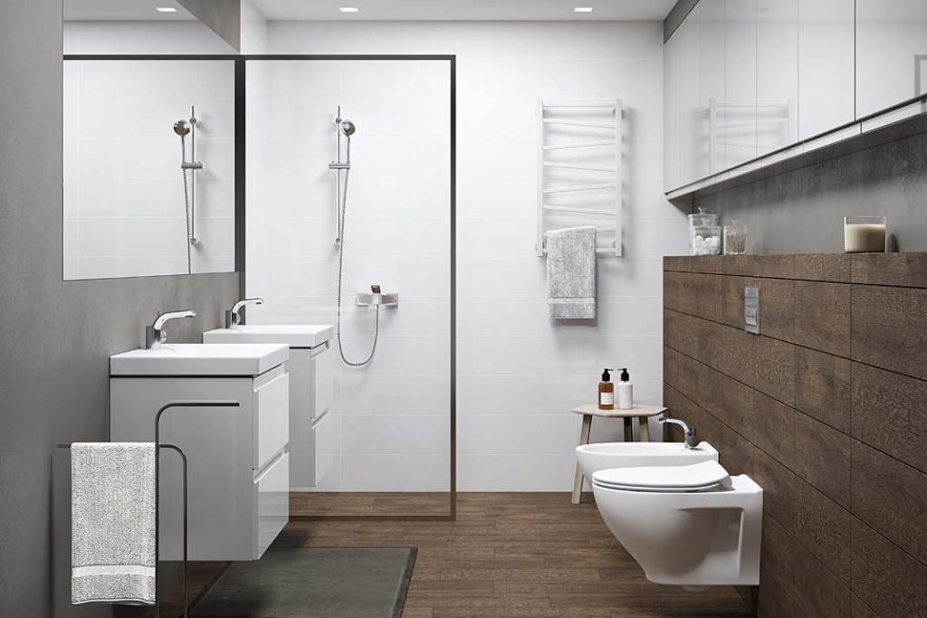 Mała łazienka dla rodziny, kolekcja Moduo marki Cersanit
