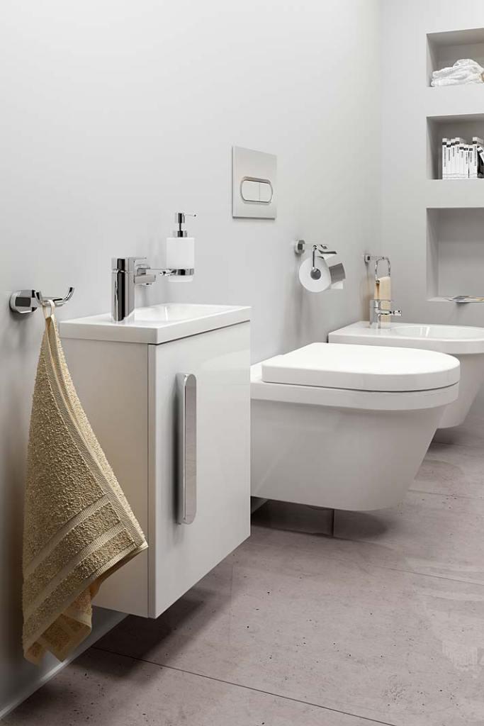 Toaleta z bidetem i małą umywalką. Aranżacja marki Ravak