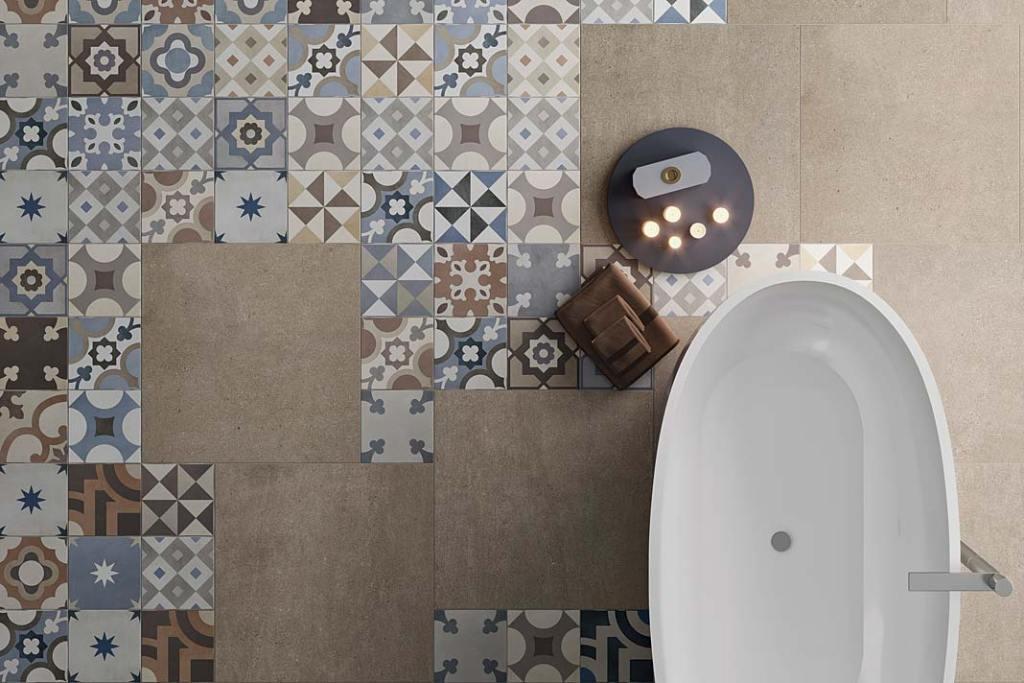 Patchwork na podłodze w łazience, kolekcja Casablanca z oferty Steuler-Fliesen