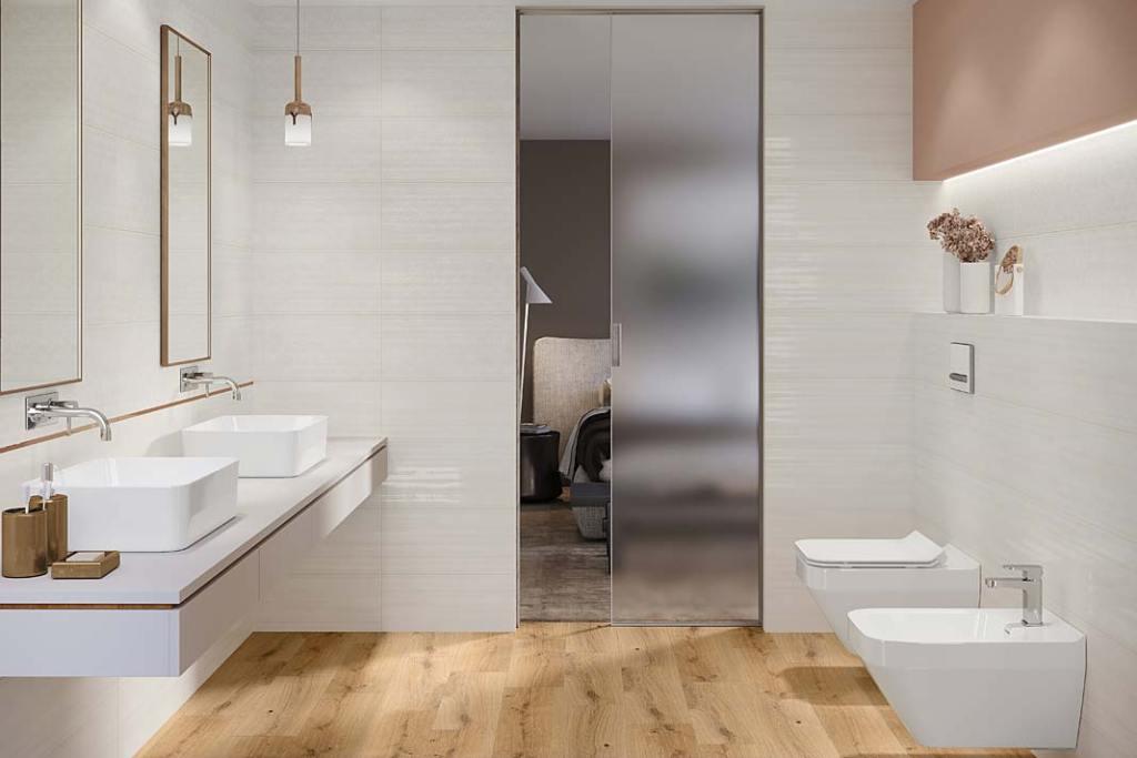 Podświetlana wnęka nad stelażem podtynkowym WC, aranżacja marki Cersanit