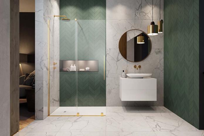 Półka pod prysznic w podświetlanej wnęce, kabina Furo Gold Walk-in marki Radaway