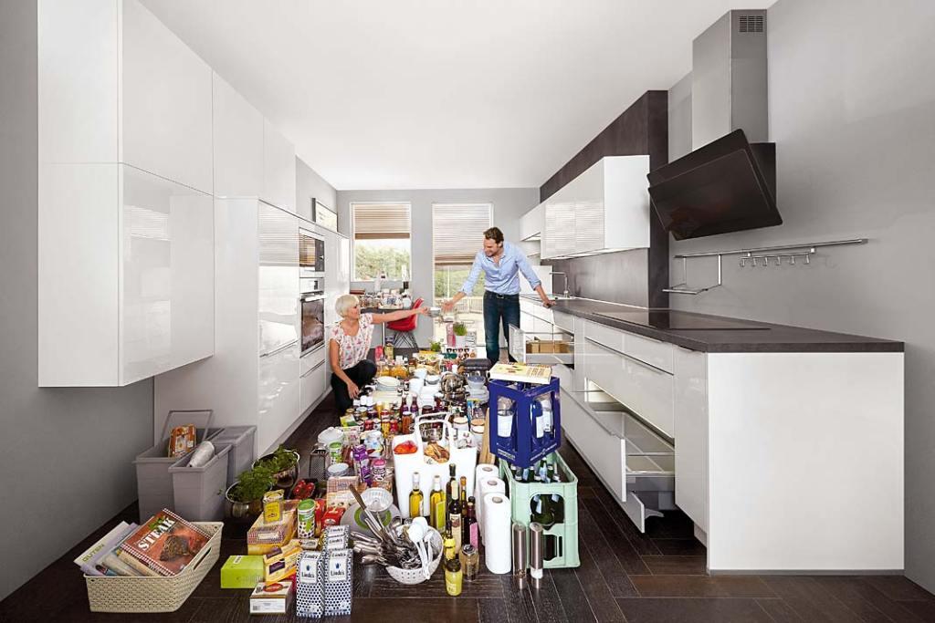 Spiżarnia w kuchni, zabudowa marki Nobilia pomieści wszystko co niezbędne