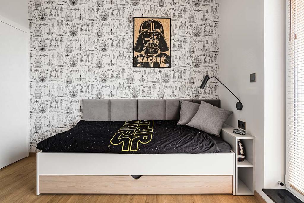 Sypialnia dla chłopca, motyw Star Wars. Projekt Studio Projekt
